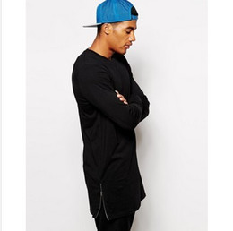 Free shipping men's longline with zip detail t shirt for long tee shirts solid color hip hop clothes