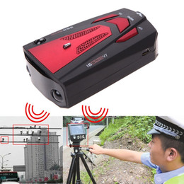 Wholesale 360 Degree Car Speed Radar Detector Voice Alert Detection Shaped Safety for Car GPS Laser LED pc Free Ship