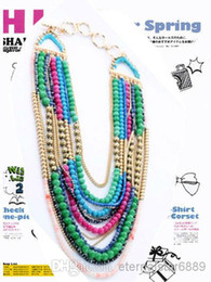 New jcrew pendant necklace Multi layer Necklace Blue Beads Chains Statement Necklace