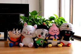 Wholesale 5LOT Dragon Ball Z Plush Dolls Son Goku white Cat Plush Dolls piece Animated Cartoon Peripheral Christmas Gift Toys