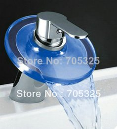 Wholesale Newly Nice Round Mode Panel Led Waterfall Chrome Brass Finish Bathroom Basin Sink Mixer Tap Faucet AD