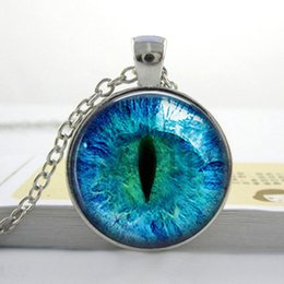 Wholesale Cat Eye Necklace Pendant Charms Art Picture Photo Blue and Black Handmade Jewelry