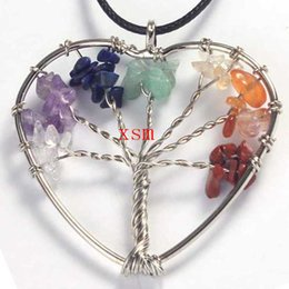 10psc Fashion Seven Chakra Crystal Stone The Tree Of Life Pendant Reiki Healing Heart Lucky Tree Pendant For Women Free Shiping