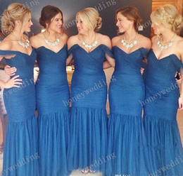 2019 Top Fashion Mermaid Bridesmaid Dresses Cheap Sexy Off Shoulder Pleated Organza Royal Blue Bridesmaids Dresses
