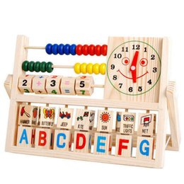 Wholesale Top Quality NEW Children Baby Kids Educational Math Toys Learning Developmental Versatile Flap Abacus Wooden Toys S28