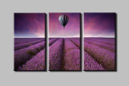Wholesale Purple lavender garden and a hot air balloon Panels Set HD picture Canvas Print Painting Artwork decorative painting