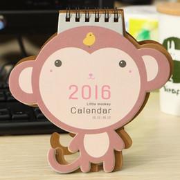 Organizadores de papel de escritorio en venta-2016 Mono Calendario de papel del soporte del tirón del escritorio tabla de la oficina Mini Agenda Calendario Memo Pad Planificador anual del orden del día Organizador