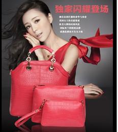 Las mujeres baratas bolsas de cuero negro en venta-Diseñador de las mujeres 3pcs sistemas bolsos de las señoras del bolso del hombro bolso de mano Oficina bolsos baratos sólido bolso claro del color Mano Azul Negro Blanco Rojo