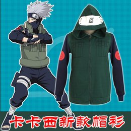 Wholesale Naruto Konoha Ninja Hatake Kakashi Sweatshirt Cosplay Costume Hooded Coat Jacket Unisex Hoodies Tops Sportwear