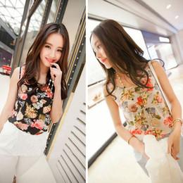 Charming 1PC Women Casual Chiffon Sleeveless Flower Shirted Blouse Tank Vest Tank Tops Snow