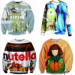 Wholesale Harejuku Nutella beef crocodile girl cat Food Funny D Print cartoon Sweatshirt Plus Size Galaxy Hoodies feminino moletom