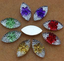 200PCS 9*18mm Mixed pear flower Shape Resin Rhinestones FlatBack Beads ZZ262