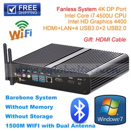 Wholesale High end Fanless HTPC Intel Core i7 Dual Core Mini PC Desktop Palm Computer Max GB DDR3 RAM M WIFI Dual Antenna Bluetooth4 USB Dongle