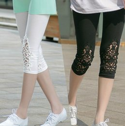 Wholesale Lace Slimming Pants For Women - 1 piece lady summer short pants hallow out sexy lace pant women fashion modal short leggings slim pants for girl