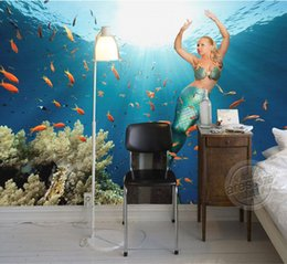 Wholesale Beautiful Mermaid Wallpaper Underwater World Wall Mural D Photo Wallpaper Cute Fish Murals Art Home Decor Children room Bedroom Living room