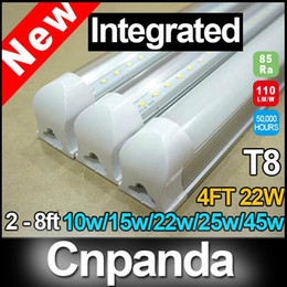 Wholesale FCC T8 Integrated Led Tube Lighting ft ft ft ft W W Warm Cool White Replace Fluorescent Tubes AC110 V