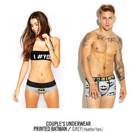 Wholesale One set cueca Couple Models Underwear Men s cotton boxers lady panties Men Cotton trunk Shorts Pant Homme sexy underpants