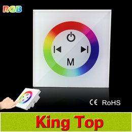 Wholesale-EU US Standered DC12V 4A 3CH Dimmer Switch white Crystal Glass Panel Wall Light Touch Dimmer Switch For RGB Led Tape