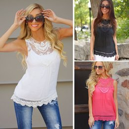 Wholesale Size Ladies Lace Tank Top Sleeveless T shirt Vest Summer Blouse Tee Tops