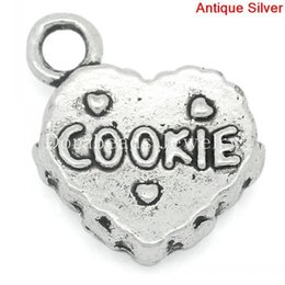 Wholesale Charm Pendants Love Heart Antique Silver quot COOKIE quot Carved x14mm B27482