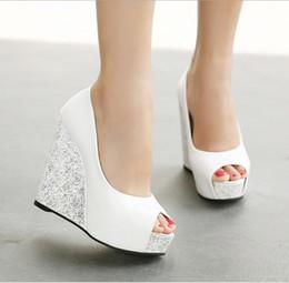 Boda de la sandalia del tacón alto cm en Línea-En la acción Zapatos de boda nupciales azules blancos azules blancos azules blancos azules del alto talón de la zapatilla de deporte 2016 de las sandalias de la boda del dedo del pie del pío 12.5 cm nupciales de los zapatos