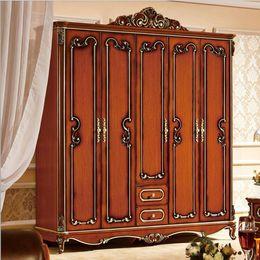 Wholesale five door wardrobe Antique European whole wardrobe French rural furniture wardrobe