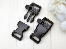 Wholesale 50pcs quot mm Emergency Side Release Whistle Buckles For Paracord Bracelet Backpack Survival Kits Black