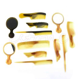 Wholesale Exquisite Beautiful Mirrors Fold Flat Comb Tendon Constantly Horn Comb Set