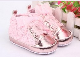 Baby shoes New 12 Pair Baby Girls Toddler Shoes Rose Lace Soft Bottom Princess High Shoes First Walkers
