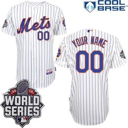 Wholesale 30 Teams Customized New York Mets Cool Base Personalized Home White Jersey w World Series Patch Size S XXXXL New