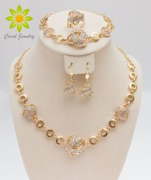 Free Shipping African Gold Plated Romantic Fashion Clear Crystal Necklace Sets Fashion Costume Jewelry Sets