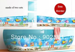 Wholesale funlife x210cm x83in Cartoon fish underwater world traffic Wallpaper Wall Sticker Border for bathroom