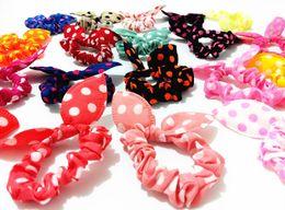 Wholesale Fashion Mix Style Hair bands Polka dot leopard trip hair rope Rabbit Ears scrunchy Hair tie hair accessory