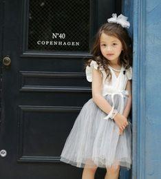Voler v à vendre-Les enfants princesse filles robe falbala mouche manches tulle robe enfants V encolure gris robe Gauze enfants robe de soirée A7638