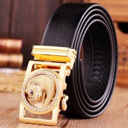 Wholesale Gold jaguar belts for men belt high quality top grain genuine leather real brand luxury designer automatic buckle hot