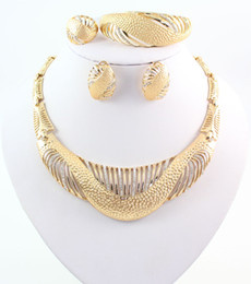 African Jewelry Statement Necklace Ring Earring Bracelet Crystal Wedding Bridal Fashion Beautiful 18K Gold Plated Jewelry Sets