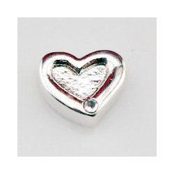 Wholesale-Free shipping 20pcs lot MIN order 100pcs silver heart floating charms with rhinestone ,locket heart charm