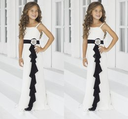 Wholesale 2014 Ivory Black Junior Bridesmaid Dresses Spaghetti Strap A Line Floor Lengthn Flower Girl Gowns Ruffled Bella Chiffon by Alexia Juniors
