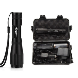 wholesale Ekaiou k20 Zoomable Tactical led Flashlights torch light xml t6 Flashlight +18650 battery charger gift boxs sets