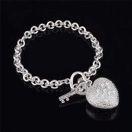 2015 New Design 925 Sterling Silver Heart Pendant with Zircon Bracelet Fashion Jewelry Valentine's Day gift free shipping