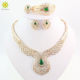 New Arrival Top Quality African Dubai Gold Plated Crystal Necklace Jewelry Sets Women Wedding Party Bridal Costume Jewelry Sets