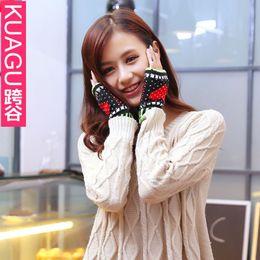 KC061 Cross Valley Winter new Korean Ms. Peach heart warm computer knitted half finger gloves wholesale