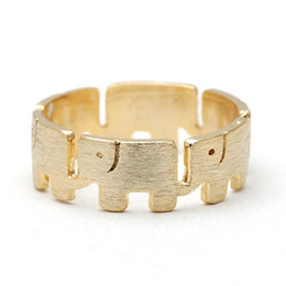 10PCS- R029 Gold Silver Cute Wrapped Lucky Elephants Ring Linked Wide Around Elephant Rings Simple Animal Rings for Ladies Women