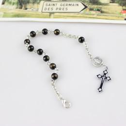 New Arrived Fashion Catholic Jewelry Metal Cross 6 mm Glass Rosary Bracelet Red Black Gray Wholesale