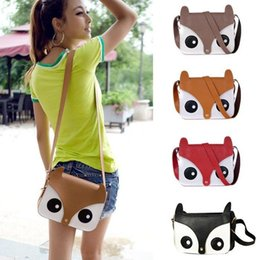 Wholesale-New Shoulder Bag Womens Messenger School Tote Owl Fox Leather Purse Wallet Handbag Free Shipping