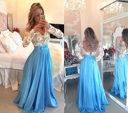2016 Light Sky Blue Lace Long Sleeves Evening Dresses V Neck Floor Length Backless Long Evening Gowns Arabic Prom Party Dresses BO9585