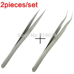 Wholesale Switzerland Standard Professional Stainless Steel Angle Curved Straight Tweezers Eyelashes Extension