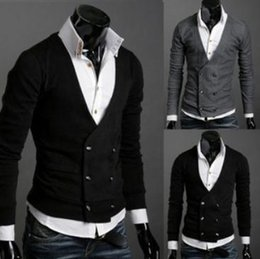 Wholesale In Europe and the British men s wear double breasted knitting cardigan sweater of abb cloth with soft nap
