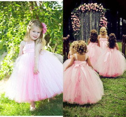 Princess Pink Lovely Flower Girls' Dresses 2018 Ball Gown Ankle Length Halter Tutu Dress Formal Party Gown Girl Pageant Gowns For wedding