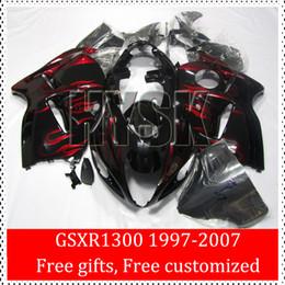 97 98 99 00 01 02 03 04 05 06 07 GSXR1300 GSX-R1300 GSXR 1300 Hayabusa Fairing Kits Red Fire Flame Of Suzuki OEM Quality Cheap Fairings